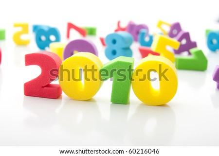 isolated colorful digits - stock photo