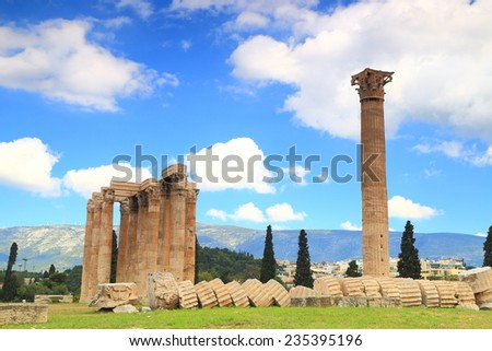 Isolated column from the temple of Zeus in Athens, Greece - stock photo