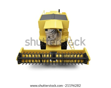 isolated combine harvester on a white background