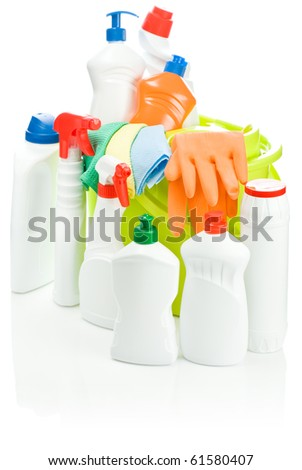 isolated composition of cleaning supplies - stock photo