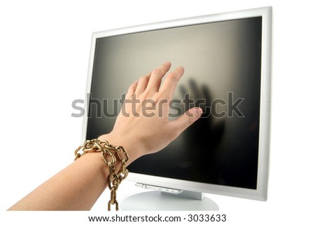 isolated computer lcd monitor and hand, concept of forbidden