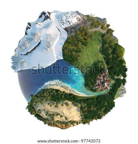 Isolated conceptual globe with diversity in natural landscapes and environments