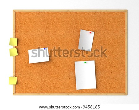 Isolated cork message board. White background - stock photo