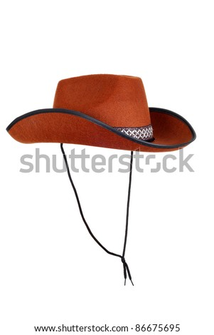 isolated cowboy hat with strap - stock photo
