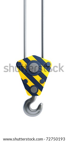 isolated crane hook 3d render - stock photo