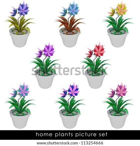 isolated cropped colorful houseplants  in chrome metallic flowerpot design illustration