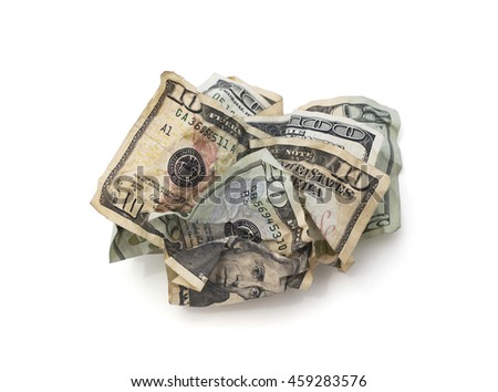 Isolated crumpled cash.