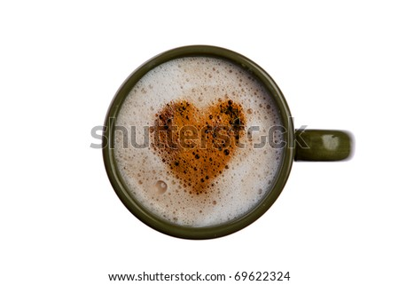 isolated cup of coffee or latte with some great bubbles isolated on white with room for your text - stock photo