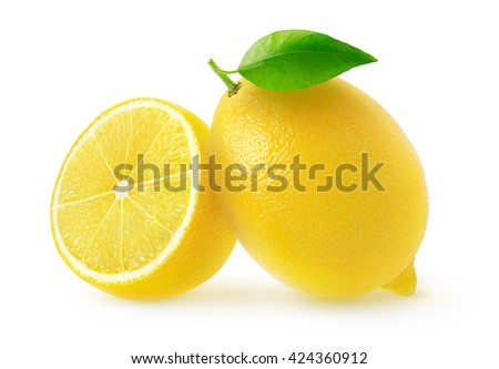 Isolated cut lemons. One and a half lemon fruits isolated on white background with clipping path - stock photo