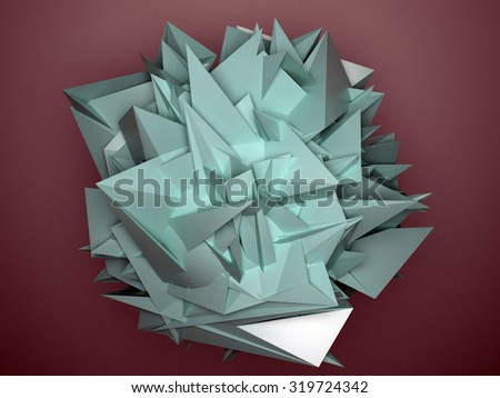 Isolated cyan abstract object red background - stock photo