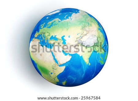 Isolated 3D Earth globe on white background