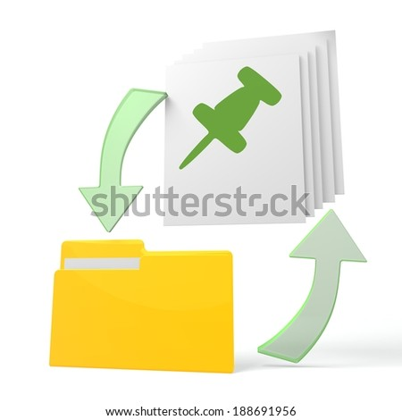 isolated 3d file folder with pin sign on documents with symbol for upload and download