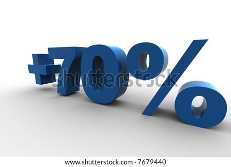 isolated +70% - 3d illustration - stock photo