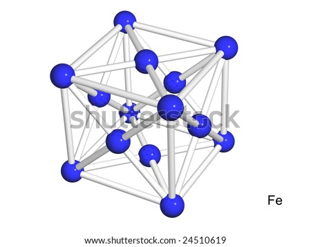 Isolated 3D model of a crystal lattice of iron on a white background - stock photo