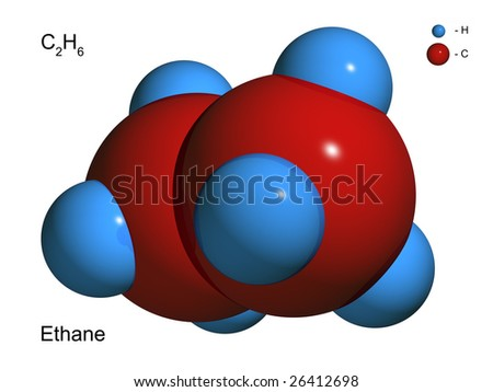 Isolated 3D model of a molecule of ethane on a white background - stock photo