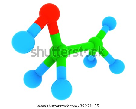 Isolated 3d model of ethanol [alcohol] - C2H6O molecule