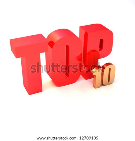 "isolated 3d red text ""TOP 10"" - stock photo"