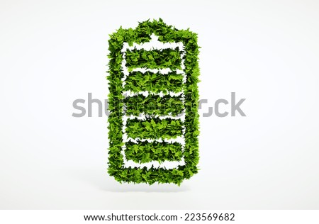 Isolated 3d render alternative ecology battery concept with white background - stock photo