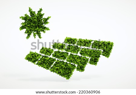 Isolated 3d render ecology photovoltaic energy concept with white background - stock photo