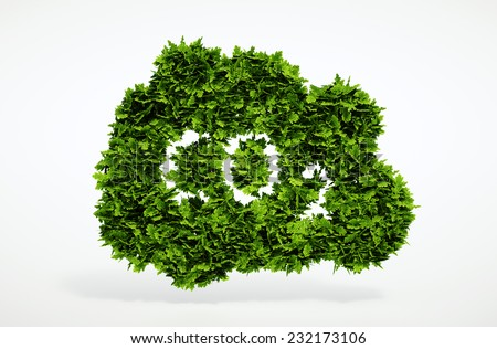 Isolated 3d render natural CO2 symbol with white background - stock photo