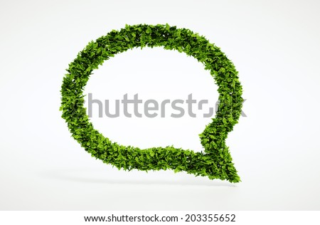 Isolated 3d render natural leaf attention symbol with white background - stock photo