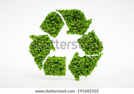 Isolated 3d render natural leaf recycling symbol with white background - stock photo