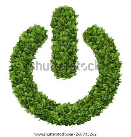Isolated 3d render natural power on button home image with white background - stock photo