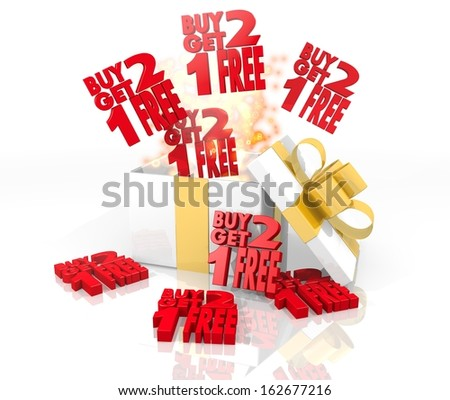 isolated 3d rendered gift on white background with glittering buy two get one free icon coming out of it
