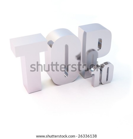 "isolated 3d text ""TOP 10"" - stock photo"