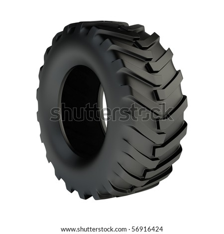Isolated 3d tractor tyre - stock photo