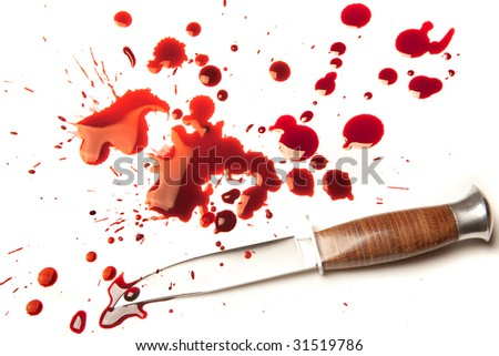 Isolated dagger with a splatter of red blood stains - stock photo