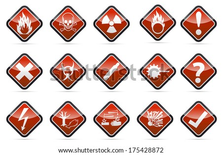 Isolated Danger sign collection with black border, reflection and shadow on white background - stock photo