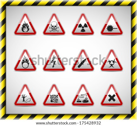 Isolated Danger sign collection with reflection and shadow on white background - stock photo