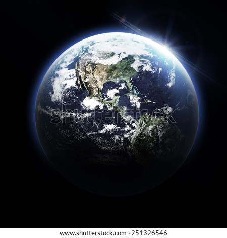 Isolated Dark Earth - Elements of this Image Furnished by NASA - stock photo
