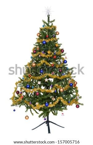 Isolated decorated christmas tree - stock photo