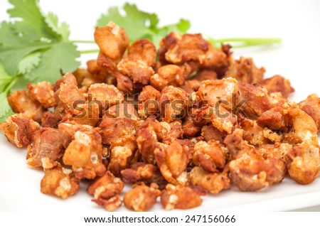 Isolated deep fried pork tendons with delicious taste on white background - stock photo