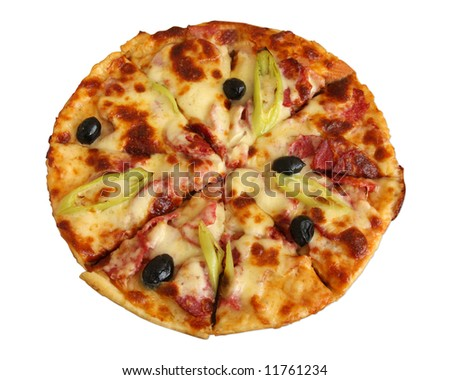 Isolated delicious pizza on a white background (clipping path)