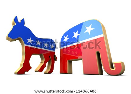 Isolated Democrat Party and Republican Party Symbols - stock photo