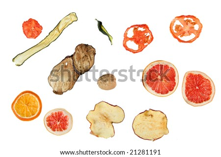 Isolated design elements of fruits and vegetables - stock photo