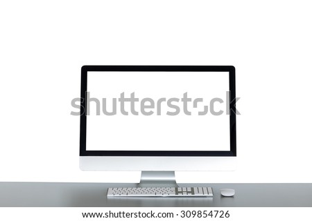 isolated desktop computer on the table - stock photo