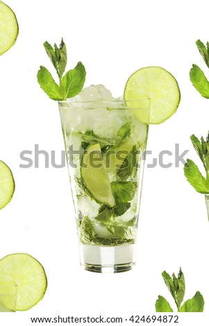 isolated. detox. Summertime. Long drink. Mojito. A refreshing drink. Isolated on white background.