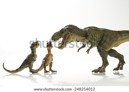 Isolated dinosaur with path and clipping path - stock photo