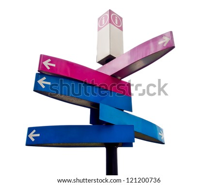 isolated directional signs on white background - stock photo