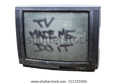 Isolated discarded old TV set - stock photo