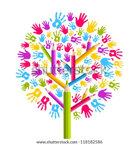 Isolated diversity education concept tree hands illustration. - stock photo