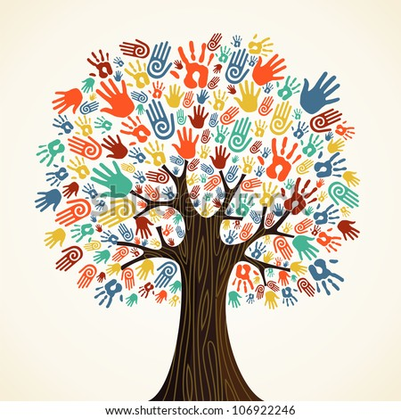 Isolated diversity tree hands illustration. - stock photo