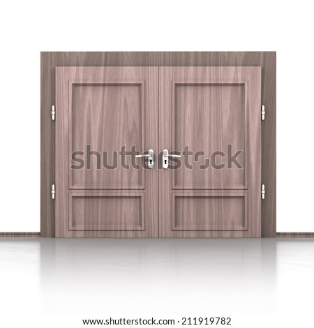 isolated double wooden closed door detail 3D illustration - stock photo