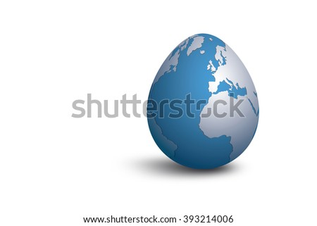 Isolated earth egg on white background for easter and earth day