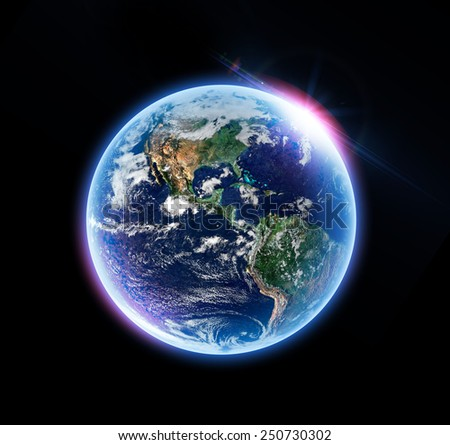 Isolated Earth - Elements of this Image Furnished By NASA - stock photo