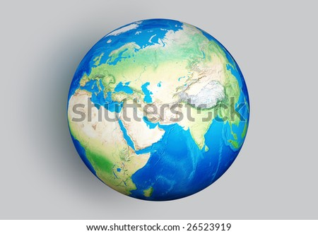 Isolated Earth globe isolated on gray background